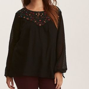 Torrid | Embroidered Chiffon Tie Sleeved Top 3X